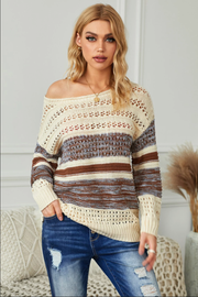 Cable Knit Multi Brown Sweater