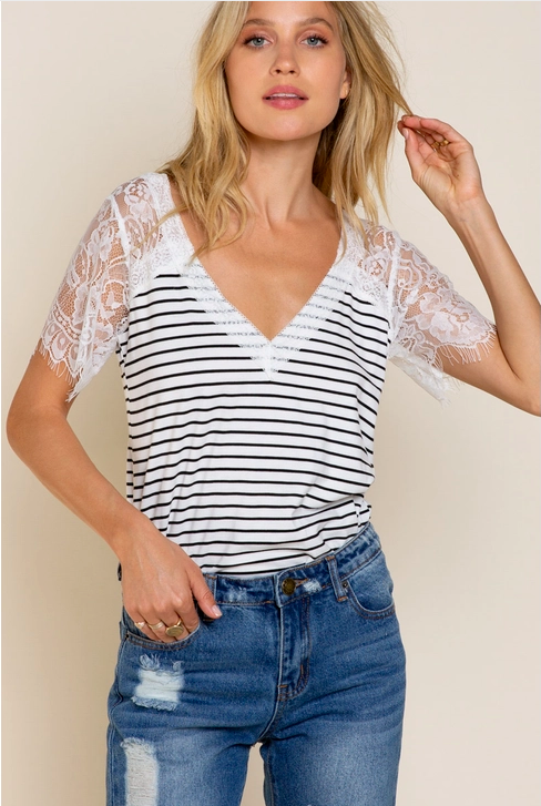 Sweetheart White with Black Stripes Top