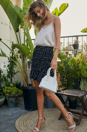 Brunch Date Shirred Black Skirt