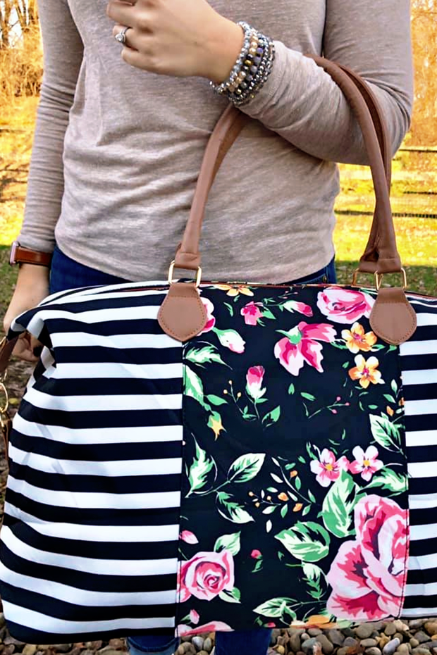 Let's Get Away Black and White Floral and Stripe Bag - Melissa Jean Boutique