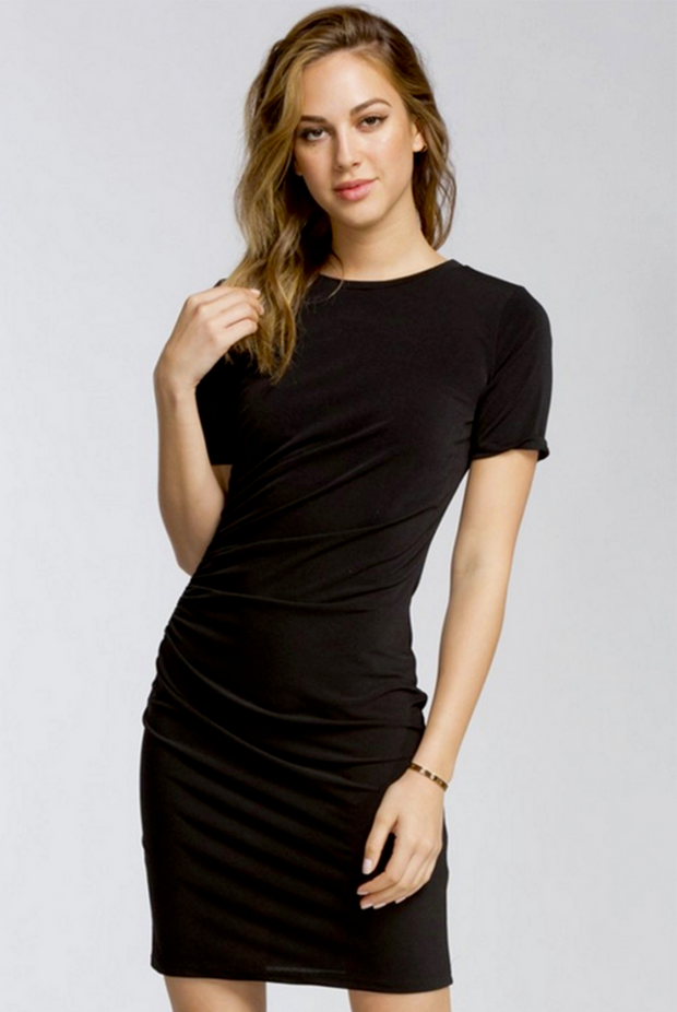 Classic Black Short Sleeve Dress - Melissa Jean Boutique
