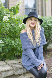Oversized Gray/Blue Sweater - Melissa Jean Boutique