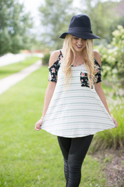 Stripes & Floral Cold Shoulder Top - Melissa Jean Boutique