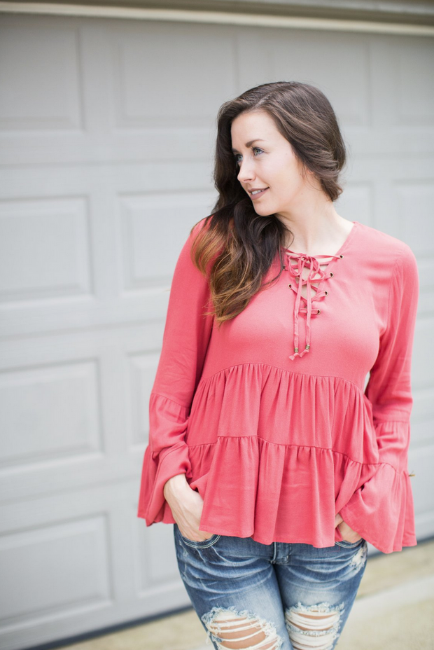 Terra Cotta Babydoll Top - Melissa Jean Boutique