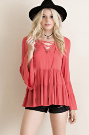Terra Cotta Babydoll Top