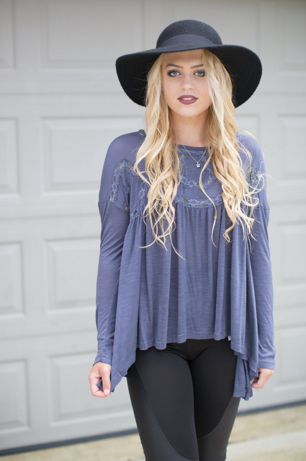 Slate Blue Knit Top - Melissa Jean Boutique