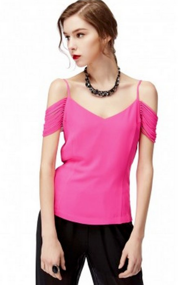 Hot Pink Cold Shoulder Top
