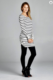 White & Black Stripe Tunic - Melissa Jean Boutique