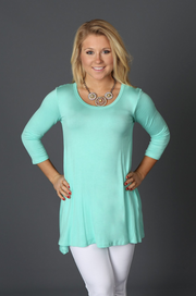 Mint 3/4 Sleeve Top - Melissa Jean Boutique