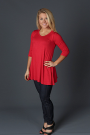 Red 3/4 Sleeve Top - Melissa Jean Boutique