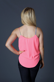 Neon Orange Surplice Tank - Melissa Jean Boutique