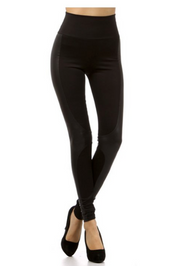 Faux Leather & Knit Leggings - Melissa Jean Boutique