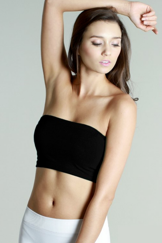 Seamless Black Bandeau Top - Melissa Jean Boutique