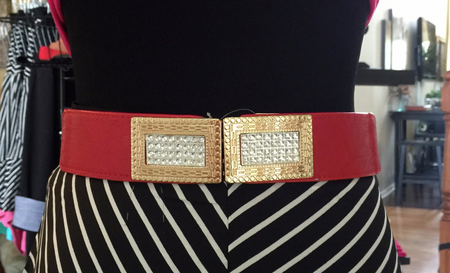 Red Rhinestone Detail Belt - Melissa Jean Boutique