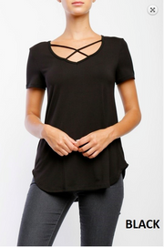 Black Criss Cross V-Neck Top