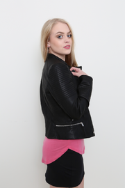 Black Moto Faux Leather Jacket - Melissa Jean Boutique
