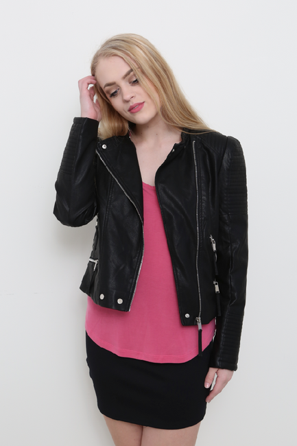 Black Moto Faux Leather Jacket