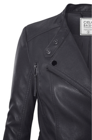 Racer Faux Leather Gray Jacket - Melissa Jean Boutique