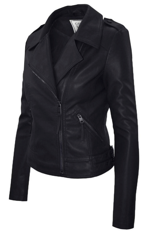 Black Faux Leather Racer Jacket - Melissa Jean Boutique