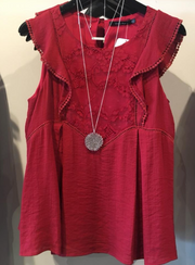 Ruffe and Lace Sleeveless Red Top