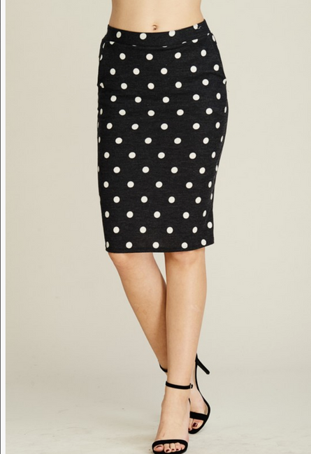 Polka Dot Knit Pencil Skirt with Pockets
