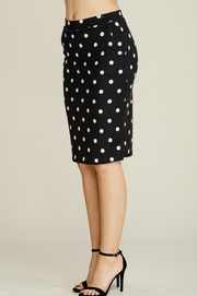Polka Dot Knit Pencil Skirt with Pockets - Melissa Jean Boutique