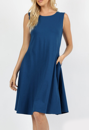 Molly Ann Sapphire Blue Pocket Dress - Melissa Jean Boutique