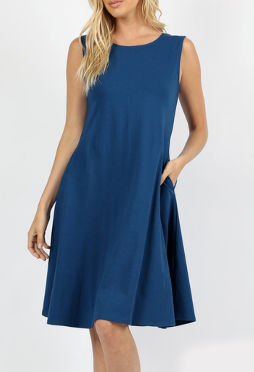 Molly Ann Sapphire Blue Pocket Dress