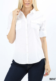 White Cotton Button Top