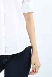 White Cotton Button Top - Melissa Jean Boutique