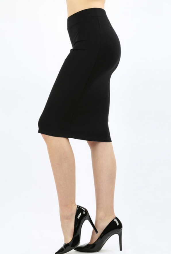 Ponte Basic Black Knee Skirt - Melissa Jean Boutique