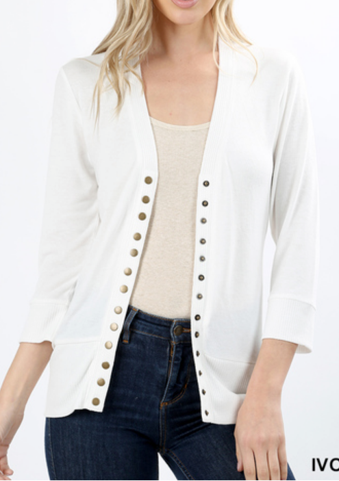 Ivory 3/4 Sleeve Button Cardigan