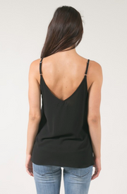 Black Scallop Cami Tank Top - Melissa Jean Boutique