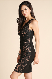 Black Sequined Lace Panel Dress - Melissa Jean Boutique