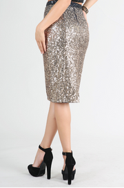 Gold Ombre Sequin Midi Skirt - Melissa Jean Boutique