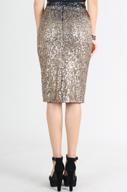 Gold Ombre Sequin Midi Skirt
