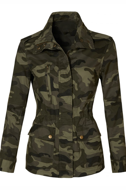 Camo Military Anorak Jacket with Pockets