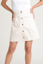 Light Khaki Button Down A-Line Skirt - Melissa Jean Boutique