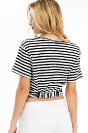 Black and White Stripe Knotted Crop Top