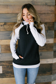Black Quilted Double Hood - Melissa Jean Boutique