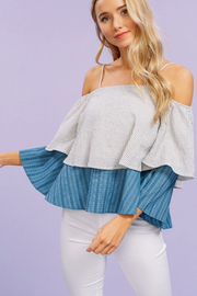 Bianca Blue Striped Layered Off Shoulder Top