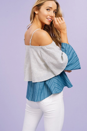 Bianca Blue Striped Layered Off Shoulder Top - Melissa Jean Boutique