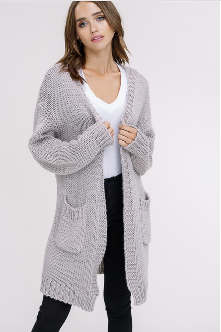 Gray Chunky Knit Cardigan - Melissa Jean Boutique