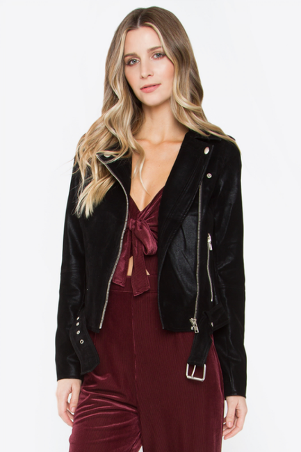 Have Mercy Black Moto Faux Leather Jacket