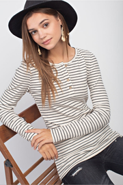 Madison Pinstripe Ribbed Henley - Melissa Jean Boutique