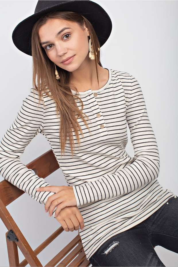 Madison Pinstripe Ribbed Henley
