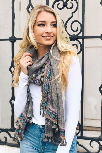 Bohemian Multi Color Scarf - Melissa Jean Boutique