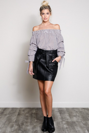 Black Faux Leather Skirt with Pockets