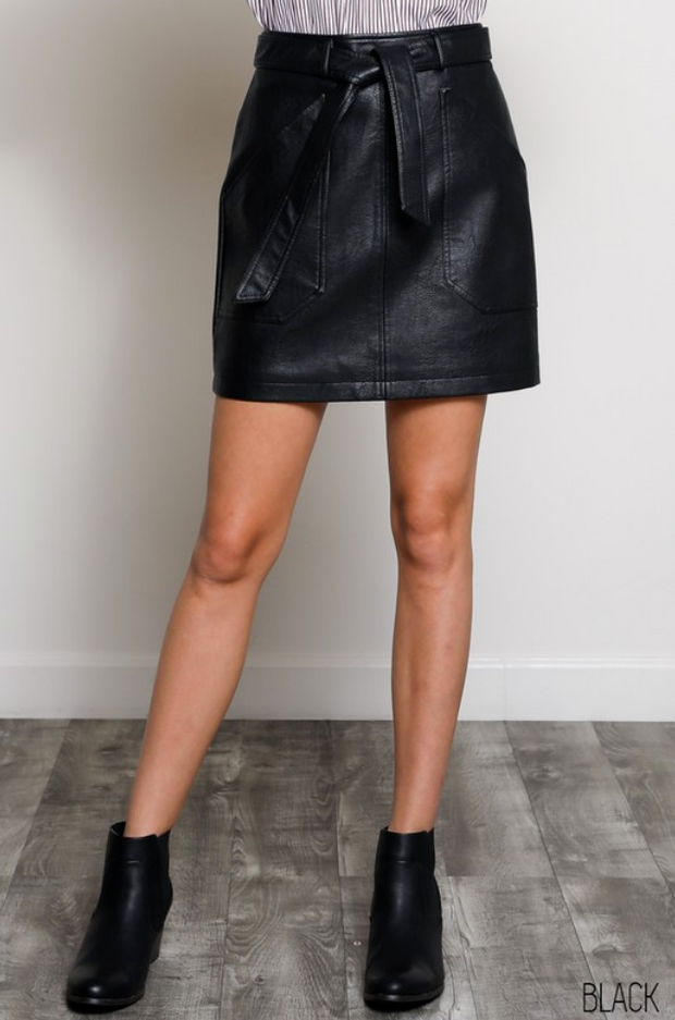 Black Faux Leather Skirt with Pockets - Melissa Jean Boutique