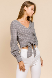Glen Plaid V-Neck Tie Top - Melissa Jean Boutique